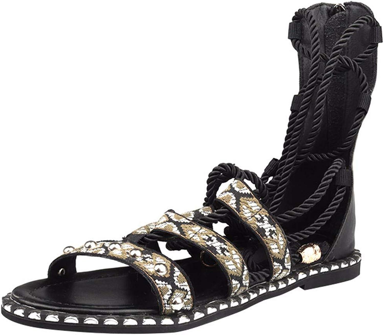 HBDLH-Damenschuhe Die Sommerferien Die Krawatten Schmetterling-Zehen Rom Schuhe Sandalen und Stiefel Nieten Stiefel Damen-Stiefel.