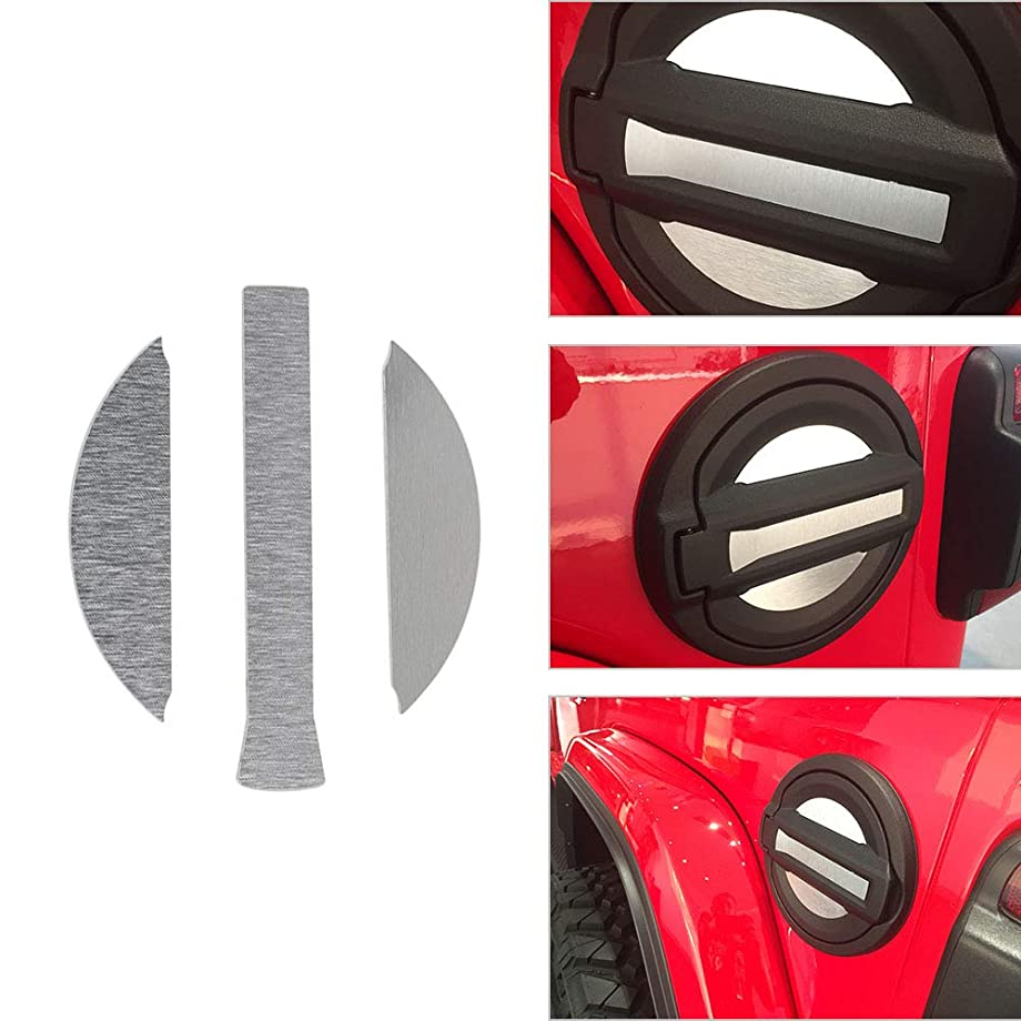 Aluminum Silver Gas Cap Fuel Door Decoration Sticker Cover for 2018 Jeep Wrangler JL