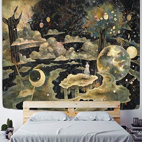 Nórdico abstracto mujer cara tapiz colgante de pared bohemio hippie psicodélico alfombra fondo paño pintor a3 180x200 cm