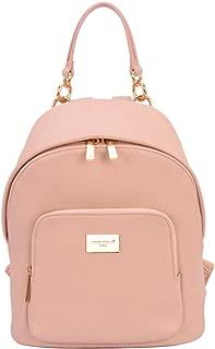 DAVIDJONES Women's Faux Leather Medium Chains Backpack Shoulder Bag Travel Purse