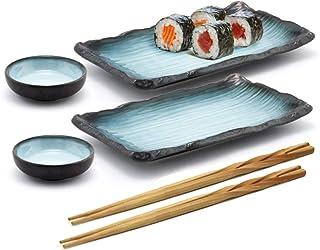 Sushi Platter Set Sushi Serving Set for Two Wedding Gift Wood Sushi Bowl Set 9 Piece Sushi Serving Set Tapas Serving Set for Two