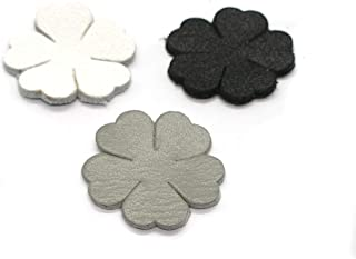 50 pcs Genuine Leather Soft Leather Flower Appliques die Cut, Cut Out for Leather Crafts Accessories 20 mm Black White Grey