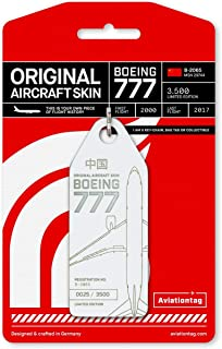 AVT031 AviationTag Boeing 777 Reg #B-2065 (Air China) White Original Aircraft Skin Keychain/Luggage Tag/Etc with Lost & Found Feature