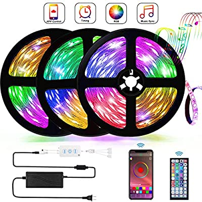 Buthsku LED Strip Lights, 50ft/15M Lights Strip Bluetooth APP controll, Music Sync Color Changing Light Strip with 44-Keys IR Remote Controller, RGB 5050 LED Rope Light for Home, Bedroom, TV, Party