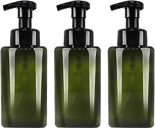 Jolitac 16 oz Dispenser Refillable Bottles 3 Pack, Shampoo Conditioner & Wash Shower Refillable Containers Pet Plastic Empty Amber Pump Bottle (Green-Foaming)