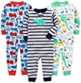 Simple Joys by Carter's Baby Boys' 3-Pack Snug Fit Footless Cotton Pajamas, Fire Truck/Dino/Animals Green/Green, 24 Months