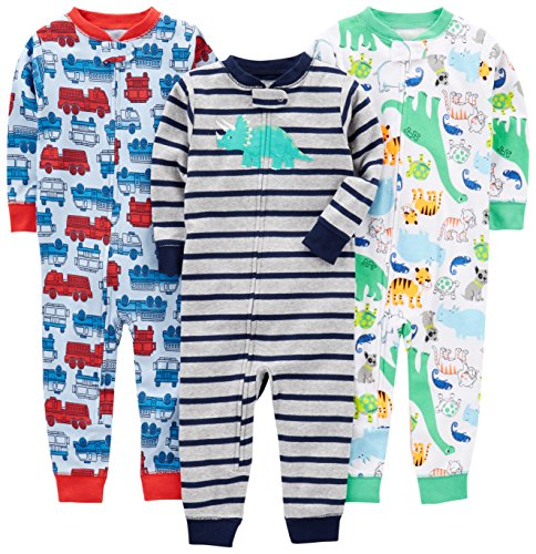 Simple Joys by Carter's Baby Boys' Toddler 3-Pack Snug Fit Footless Cotton Pajamas, Fire Truck/Dino/Animals Green/Green, 2T