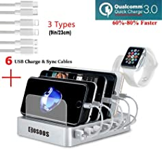 COSOOS Fastest Charging Station with QC3, 6 Phone Charger Cables(3 Type),lWatch Stand,6-Port USB Charger Station,Charging Station for Multiple Devices,Tablet,Kindle(White,UL Certified)