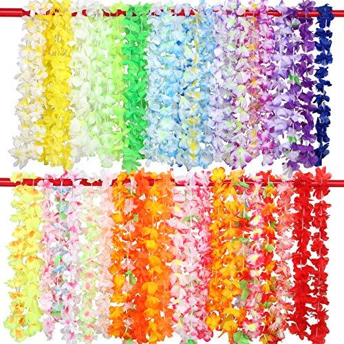 GWHOLE 50 Piezas Collares Lei Hawaiano Guirnalda de Flores Artificiales Hawai para Luau Fiesta Verano Playa Vestido, Colores Variados Decoraciones