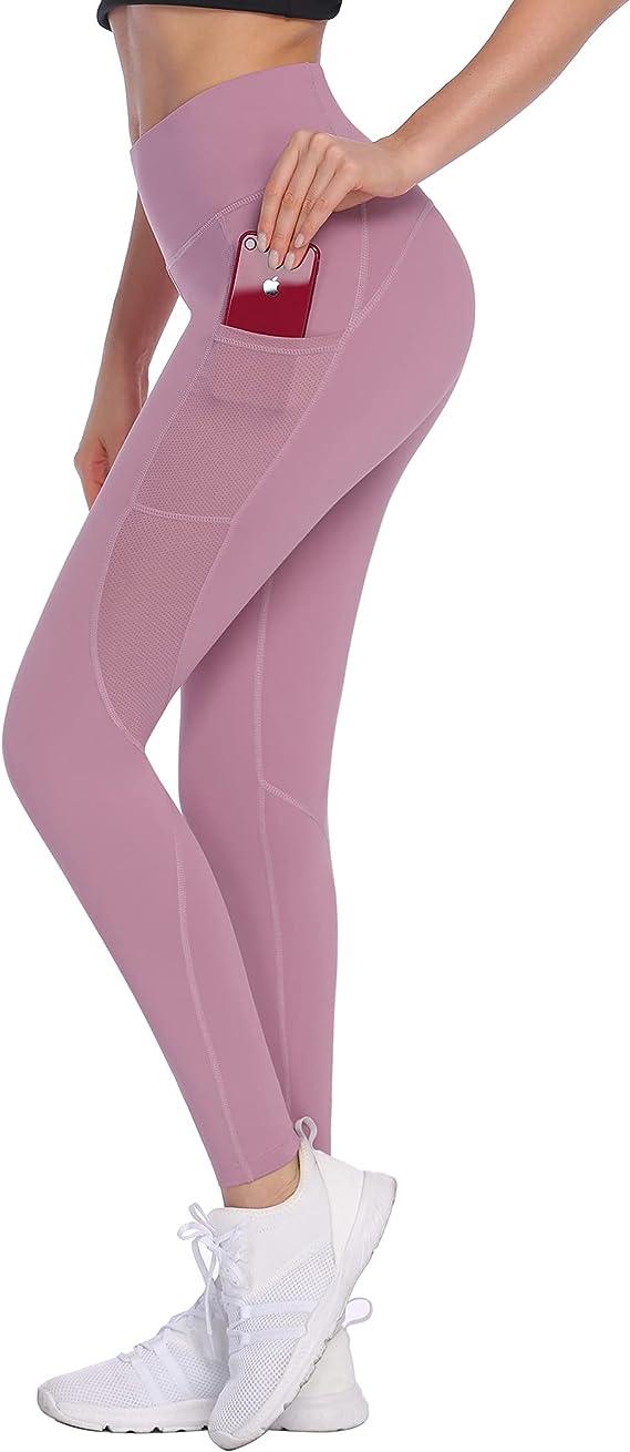 COOrun High Waist Yoga Pants with Pockets for Women Tummy Control Workout Leggings Mesh Hip Lift Leggings