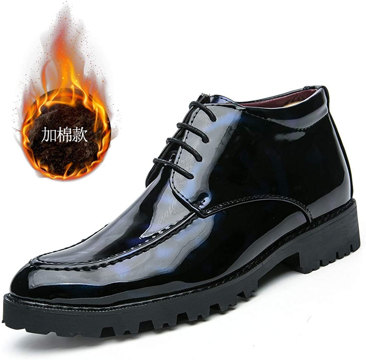 Fuxitoggo Men's Business Oxford Casual British Patent Leather Martin Boots with Plush Warm High Help Formal shoes (color  bluee, Size  43 EU) (color   Warm bluee, Size   43 EU)