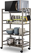 Estantería de cocina con ganchos de metal para almacenamiento de cocina con tubo cuadrado y estante extraíble para horno microondas moderno Size Marrón oscuro.