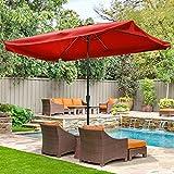 Yescom 10x6.5 Ft Aluminum Outdoor Patio Umbrella with Valance Crank Tilt for Garden Yard Pool Furniture Market Beach
