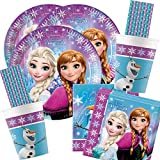 spielum Set da 68 pezzi per feste Frozen la Regina di Ghiaccio, con piatti, bicchieri di carta, cannucce per 16 bambini