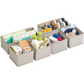 mDesign Cajas almacenaje juego de 6 – Cajas almacenaje ropa, toallas, sábanas – Ideales cajas organizadoras para un orden óptimo – Color: topo/natural: Amazon.es: Hogar