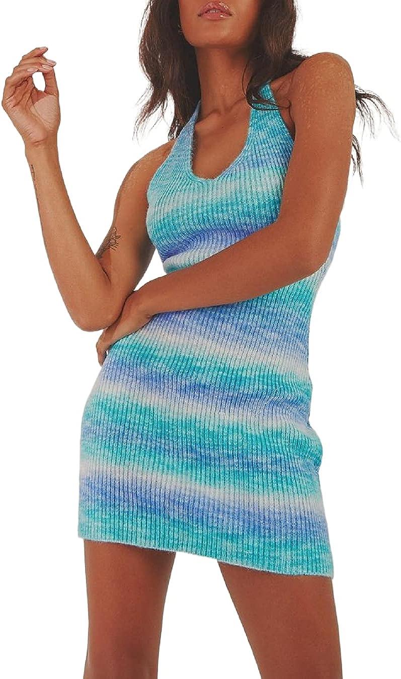 Sexy Knit Bodycon Halter Mini Dress for Women Y2k Blackless Summer Dress Spaghetti Straps E Girls Beach Club Party Streetwear