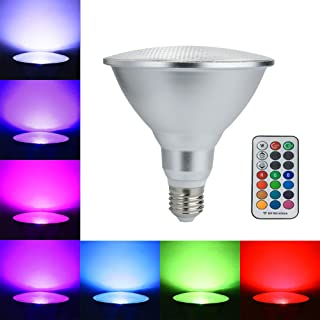 E27 20W Color Changing Light Bulb with 100ft RF Remote Control, RGB LED Spotlight Multi