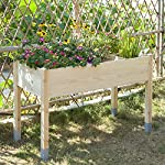 """MIXC Raised Garden Bed, Fir Wooden Planter Boxes for Outdoor Plants, Elevated Standing Planter with Waterproof Legs… 15 【Weather Treated Fir Wood】MIXC raised garden beds is made of untreated fir wood, which resists warping and splitting over time better than cedar. Overall Dimension: 46""""(L) X 21.6""""(W) X 30""""(H).The depth of the planter raised bed is 8.26 inches deep,that can be worked for tomato & carrots & any vegetable flower. 【Drainage Holes & Inner Liner】Four drainage holes are convenient to drain out excess water. Besides, we also provide a Waterproof PE rubber membrane(67""""*55"""") for you to DIY. The liner helps to keep soil and moisture from rotting the wood. 【Easy to Assemble But Sturdy】With complimentary installation guide, you can put this Planter Box together was less than 10 min without hammer and a screwdriver. The joints are dovetailed, which designed for better load-bearing structure. It has a load capacity of up to 385LBS that far heavier than other products."""