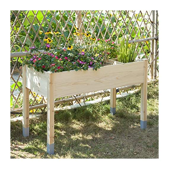 """MIXC Raised Garden Bed, Fir Wooden Planter Boxes for Outdoor Plants, Elevated Standing Planter with Waterproof Legs… 7 【Weather Treated Fir Wood】MIXC raised garden beds is made of untreated fir wood, which resists warping and splitting over time better than cedar. Overall Dimension: 46""""(L) X 21.6""""(W) X 30""""(H).The depth of the planter raised bed is 8.26 inches deep,that can be worked for tomato & carrots & any vegetable flower. 【Drainage Holes & Inner Liner】Four drainage holes are convenient to drain out excess water. Besides, we also provide a Waterproof PE rubber membrane(67""""*55"""") for you to DIY. The liner helps to keep soil and moisture from rotting the wood. 【Easy to Assemble But Sturdy】With complimentary installation guide, you can put this Planter Box together was less than 10 min without hammer and a screwdriver. The joints are dovetailed, which designed for better load-bearing structure. It has a load capacity of up to 385LBS that far heavier than other products."""