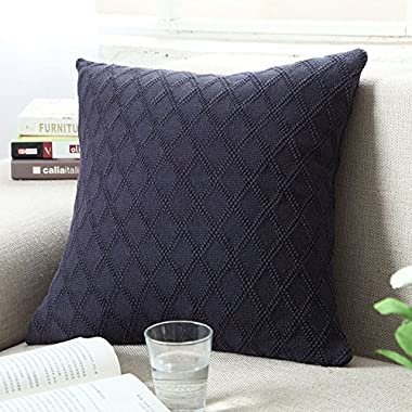 DOUH Cable Knitted Pillow Case Cushion Cover Decorative Knitting Patterns Square Warm Throw Pillow Cover with Zipper Concealed(Navy,18  x 18 )