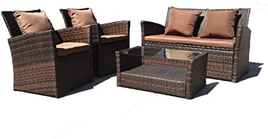 United Flame Outdoor Patio Furniture Set 4 Pieces Wicker Ratten Sofa Loveseats Backyard Balcony Porch Furniture Sectional Sof