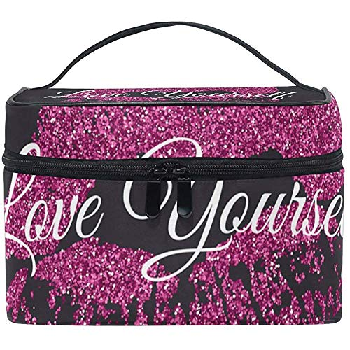 Cosmétique Voyage Sac Affiche Rose Glitter Lèvres Marque sur Portable Impression Trousse De Toilette Maquillage Sac