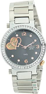 Venice V8120-IPS-B Stainless Steel Stone embellished Bezel Black Dial Round Analog Watch for Women - Silver