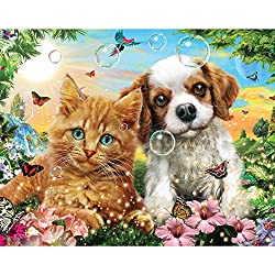 Bits and Pieces – 100大きいピースジグソーパズル – Kitten and Puppy – 100 pc猫と犬Jigsaw by Artist Adrian Chesterman[Bits and Pieces/Amazon]