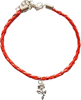 Dark Moon Magic Womens Leather and Alloy Bracelet with Silver Owl shaped Charm Red Plaited Natural Friendship 18cm Charm Bracelet Anklet Ankle
