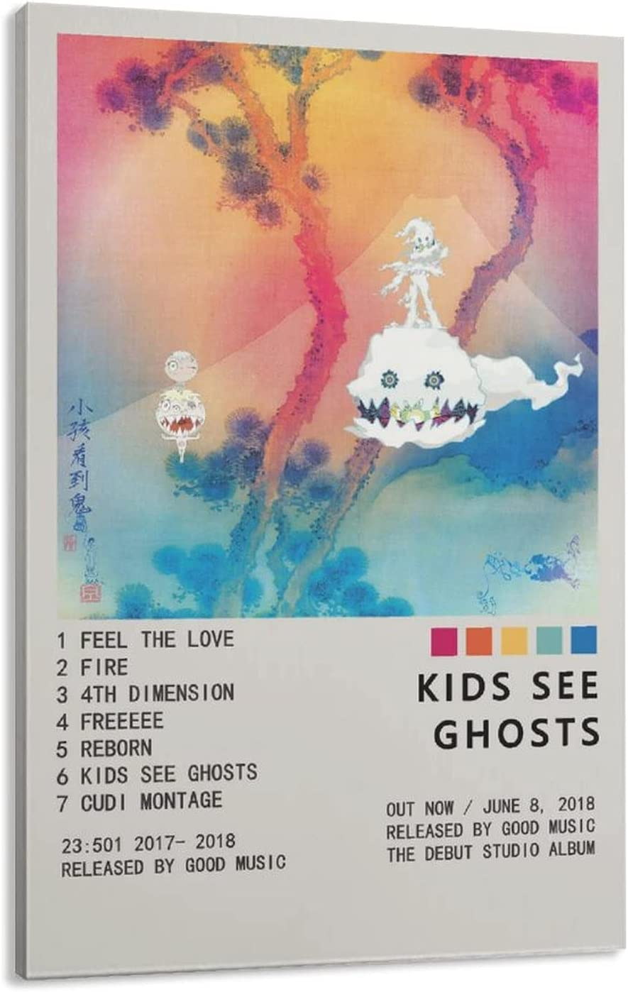 Kids See Ghosts Cheap sale Poster Canvas Bedroom Rare Decor Landsc Sports