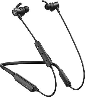 SoundPEATS(サウンドピーツ) Bluetooth イヤホン 重低音 10MMドライバー採用 [メーカー1年保証] 20時間連続再生&300時間待機時間 apt-Xコーデック対応 IPX5防水&防汗 CVC6.0ノイズキャンセリング 医療用グレードのシリコーン採用 マイク付き マイク内蔵 ネックバンド型 スポーツ イヤホン iPhone &Android 対応 Bluetooth ヘッドホン (Black)