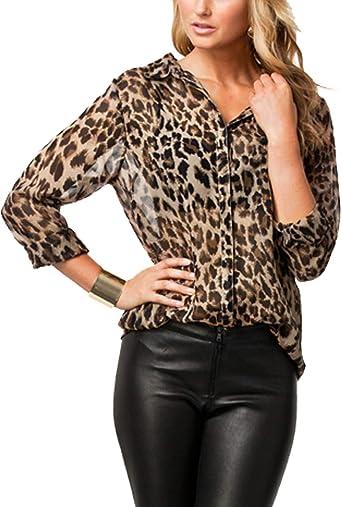Mujeres Blusa De Leopardo Impreso Casual Tapas De La Camisa Botón Abajo Delgado Oficina Blusas para Mujer