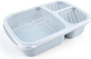 Elviray Paja de Trigo Bento Box 3 Rejillas con Tapa Microondas Caja de Comida Contenedor de