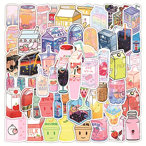 DSSK 55Pcs New Ins Flavored Beverage Graffiti Stickers Waterproof Suitcase Laptop Scooter Guitar Water Cup Stickers