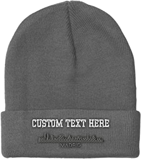 Custom Beanie for Men & Women Madrid City Skyline Embroidery Skull Cap Hat
