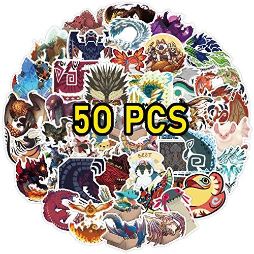Monster Hunter Stickers 50 pcs Monster Hunter World Stickers for Laptop Water Bottles Monster Hunter Merch Game Stickers for Kids Girls Teens (Monster Hunter Sticker)
