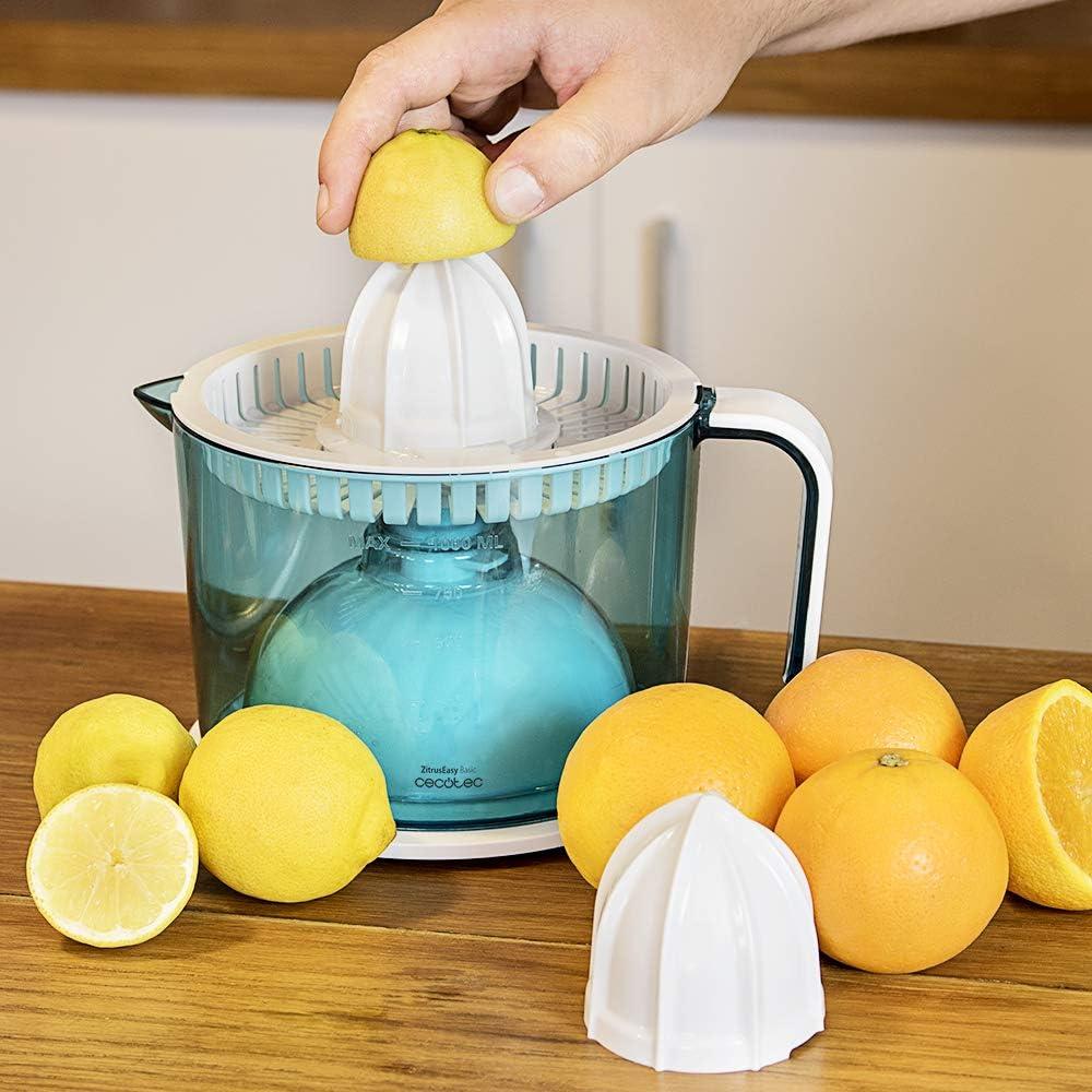 Cecotec ZitrusEasy Basic Exprimidor Eléctrico, 40 W, Tambor de 1 litro BPA Free, doble sentido de giro, doble cono, cubierta antipolvo, color azul/blanco Básico