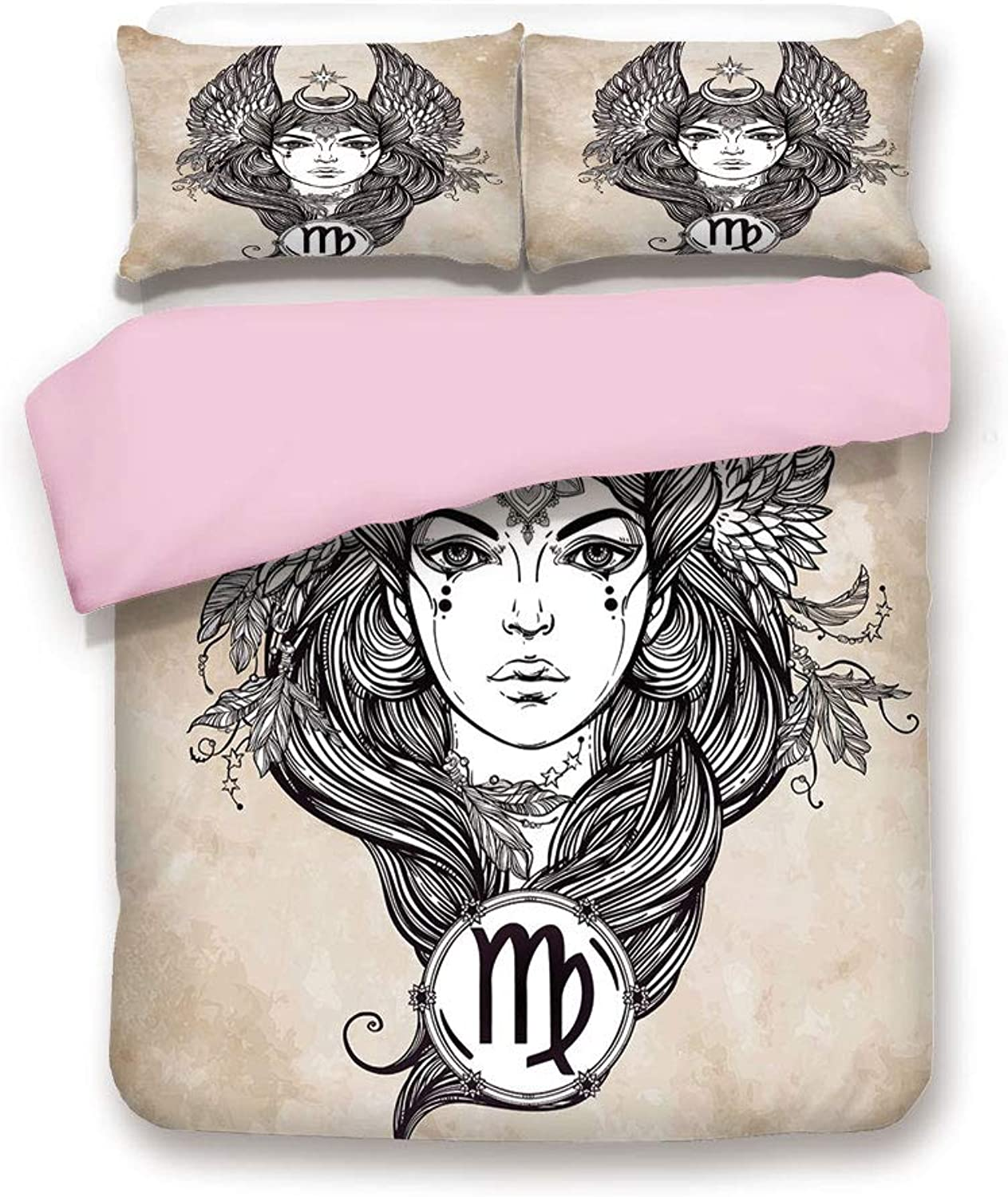 IPrint Pink Duvet Cover Set,Full Size,Astrological Icon with