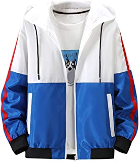 Trend Men's Colorblock Coat Thin Hooded Autumn Coat Contrast Jacket Sports Outwear Run Fitness Running Hiking Top