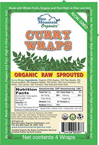 Blue Mountain Organics, Raw, Vegan, Paleo, Organic Curry Wraps (4 wraps), 5.5oz (156 g)