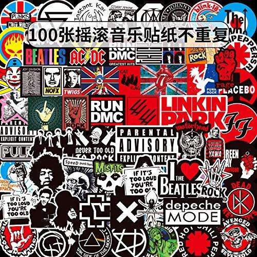 DSSJ 100 Piezas de Rock Rock Rock Band Graffiti Pegatina Pegatina Palanca Caja Coche Palo Impermeable
