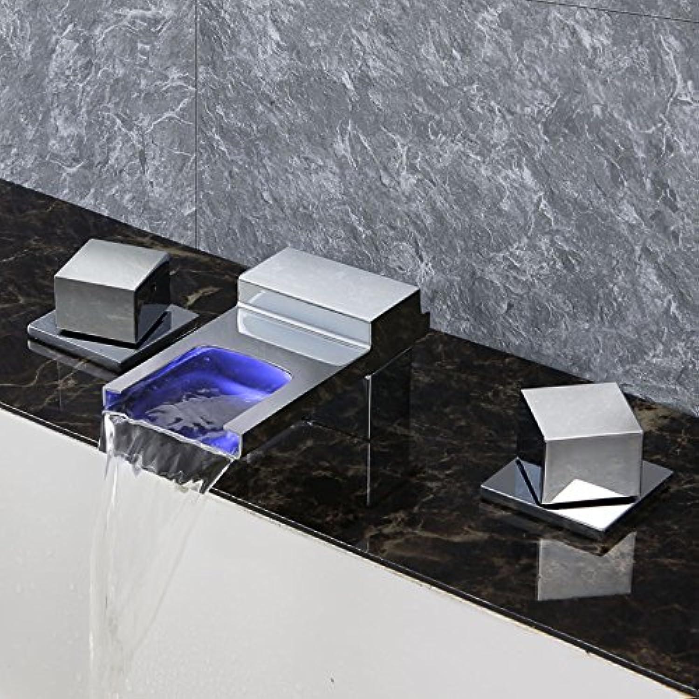 Ledu Basin Faucet, LED Copper Three-Hole Waterfall Bathroom Basin Faucet Hot And Cold Wash Basin Faucet