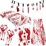 Boao 5 Pieces Halloween Bloody Garland Decorations, Include Knife Hanging Banner, Blood Splatter Apron and Blood Splatter Tablecloth with 2 Pieces Bloody Handprints and Footprints Window Stickers
