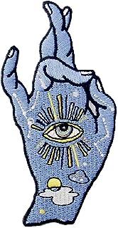 Toppa ricamata da applicare con ferro da stiro o cucitura, tema: Buona fortuna ti amo segno della mano e tutti gli occhi v...