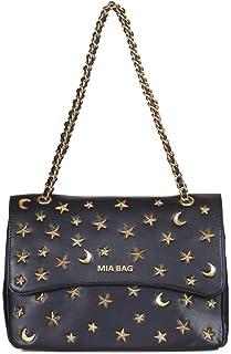 b41aec53e0 Mia Bag - Borsa media donna Nero 19105 Tracolla pelle borchie stella e luna  Nero Primavera
