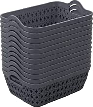 Obston 12 Packs Mini Plastic Basket Tray, Gray Desktop Storage Basket Bin