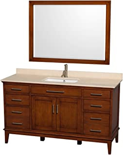 Wyndham Collection Hatton 60 inch Single Bathroom Vanity in Light Chestnut, Ivory Marble Countertop, Undermount Square Sink, and 44 inch Mirror