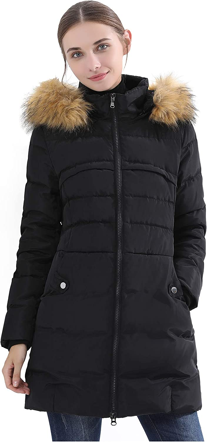 Obosoyo Women's Hooded Thickened Long Down Jacket Winter Down Parka Puffer Jacket