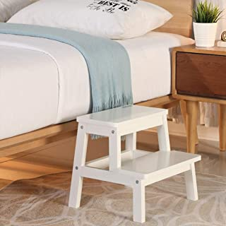 HOUCHICS Multi-Purpose Kids 2-Step Wood Step Stool with 260lb Load Capacity Wooden Bedside Step Stool Adults for Kitchen,B...