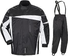 Tour Master Defender 2.0 Men's 2-Piece Street Bike Racing Motorcycle Rain Suit - Black/Black/X-Large